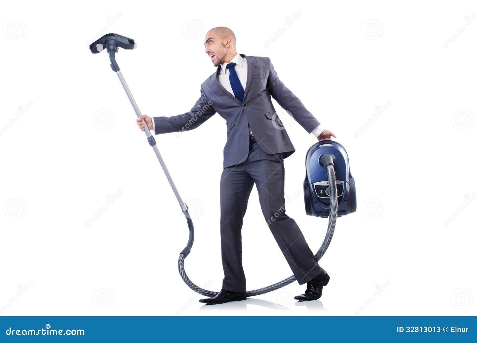Businessman Doing Vacuum Cleaning Stock Photos Image