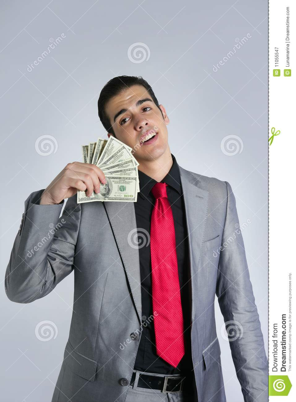 Download Businessman With Dollar Notes Suit And Tie Stock Image - Image of hands, model: 11055547
