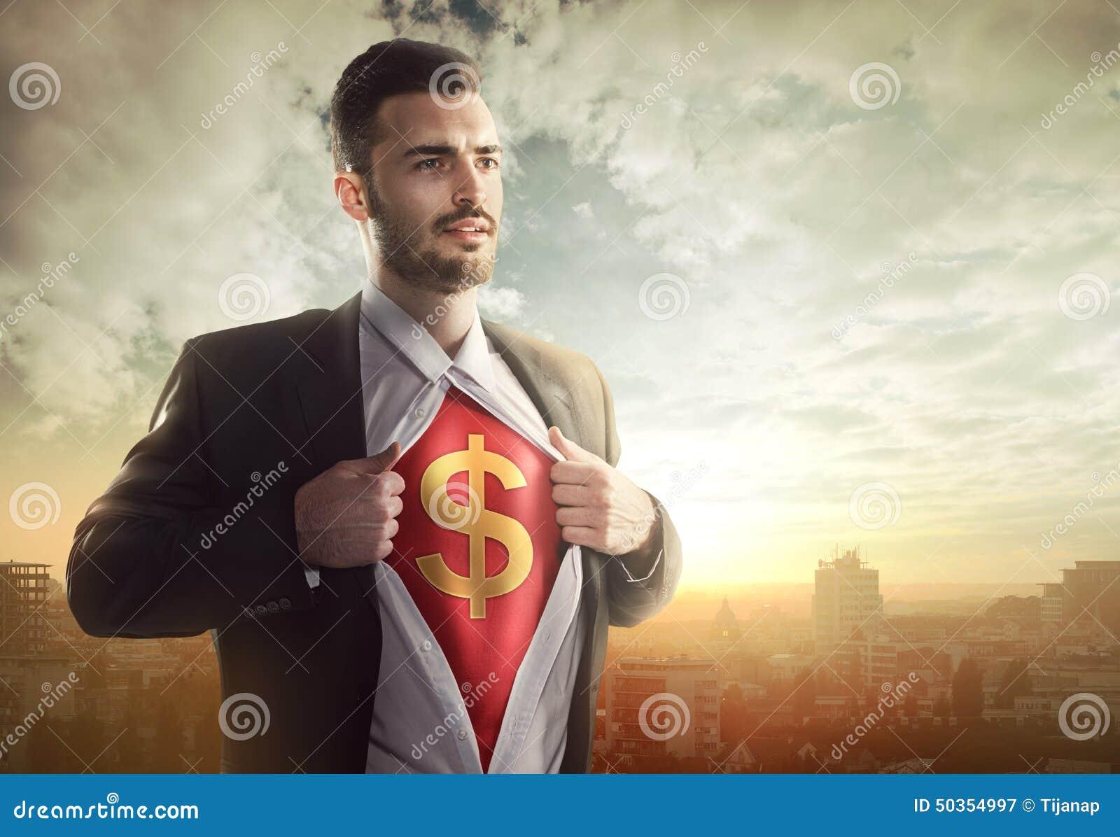 Businessman with dollar sign as superhero