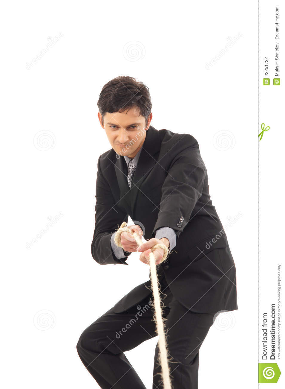 Businessman Dragging A Rope Isolated On White Stock