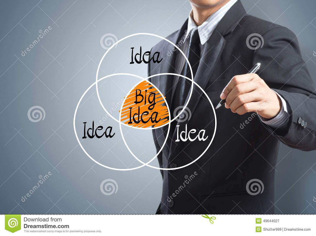 Businessman drawing big idea concept