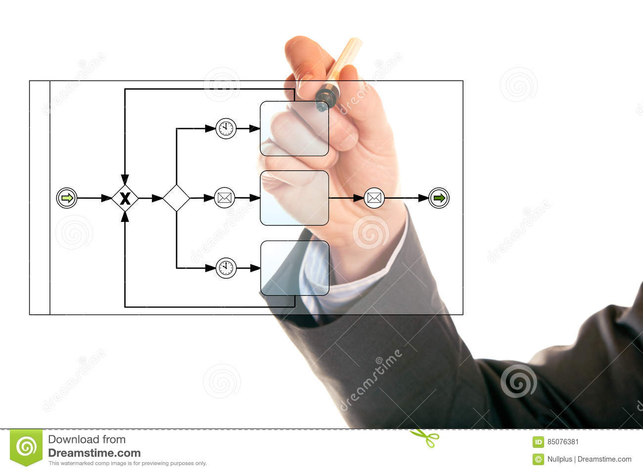 Businessman Drawing A Bpmn Diagram Stock Image Of Analyzing Process Flow Using Notation Business Modelling