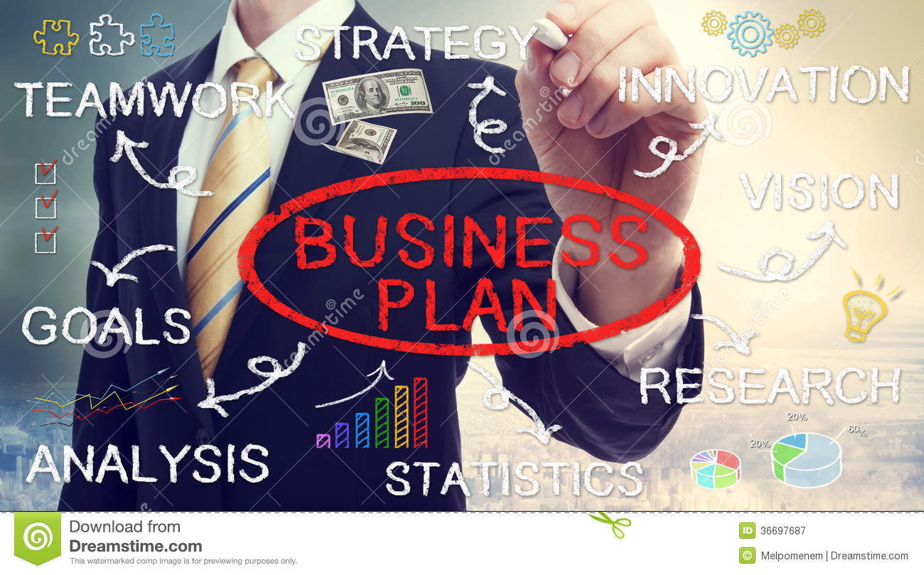 Businessman drawing business plan concepts