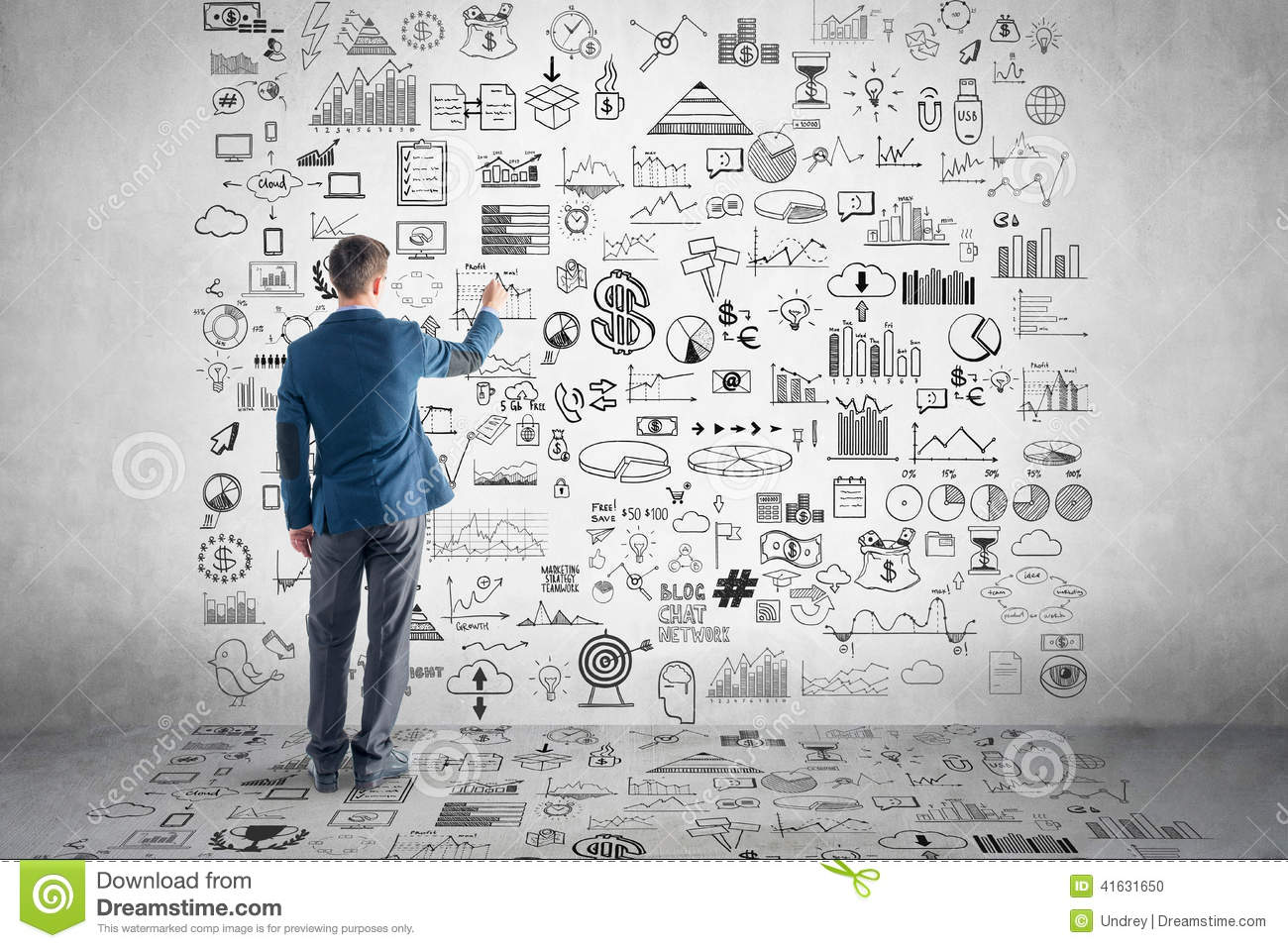Businessman Drawing Business Plan  Graph  Chart Stock Photo