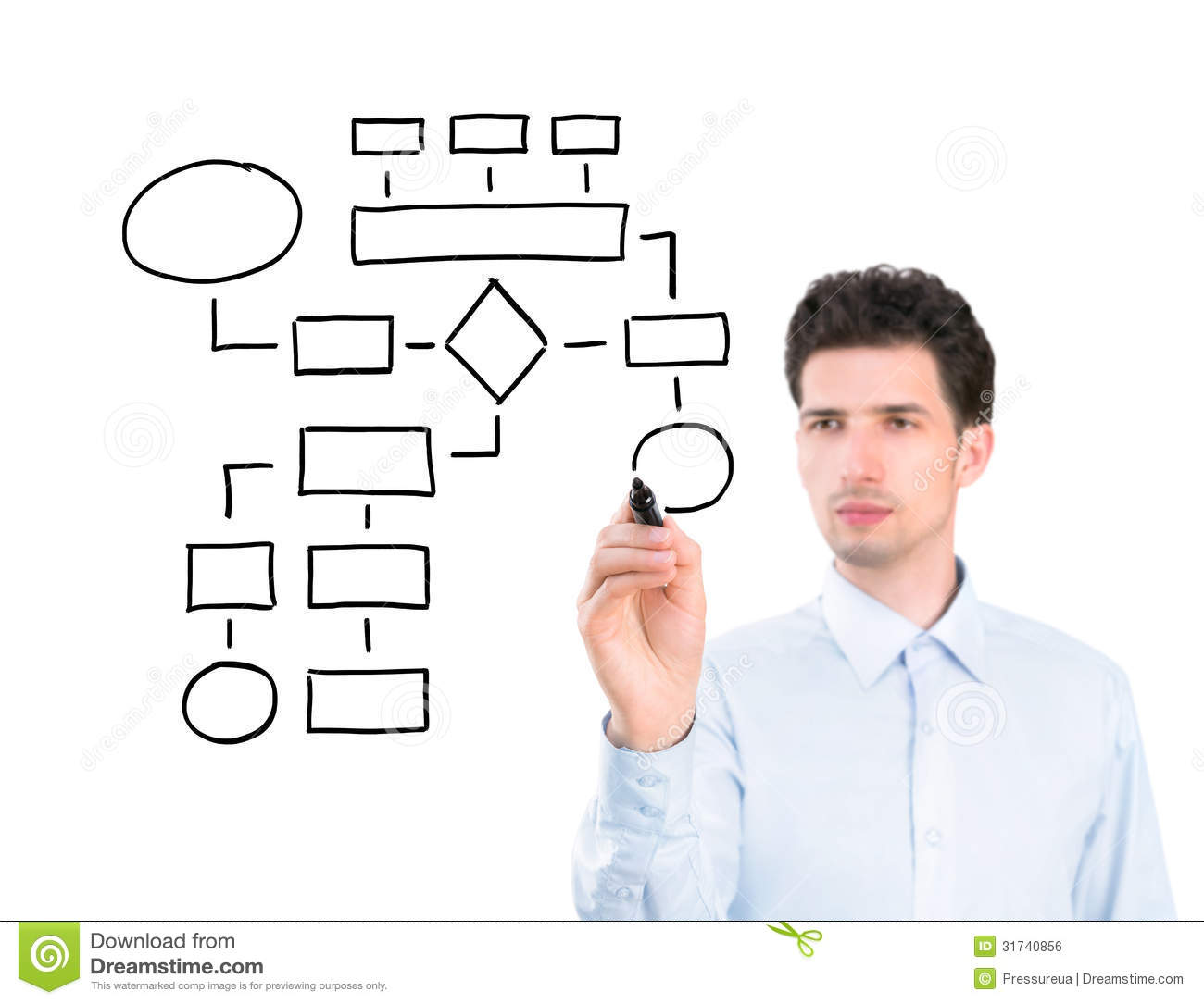 Businessman Drawing A Flowchart Stock Photo Image Of Copy