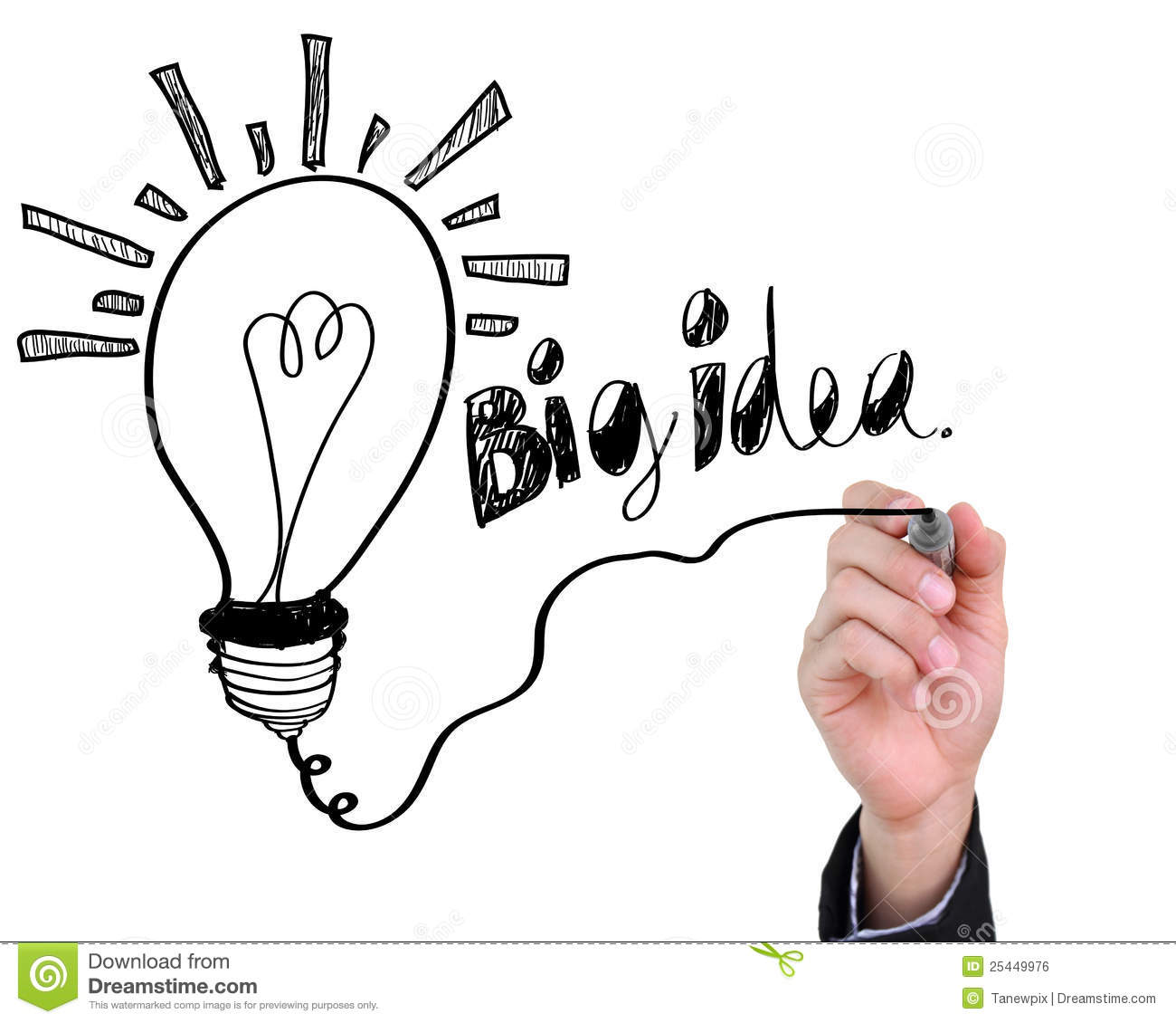 Businessman Drawing Light Bulb With Big Idea. Royalty Free Stock Image