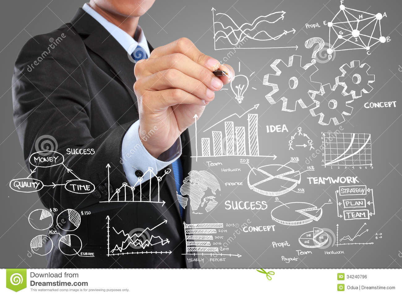 Businessman Drawing Modern Business Concept Royalty Free
