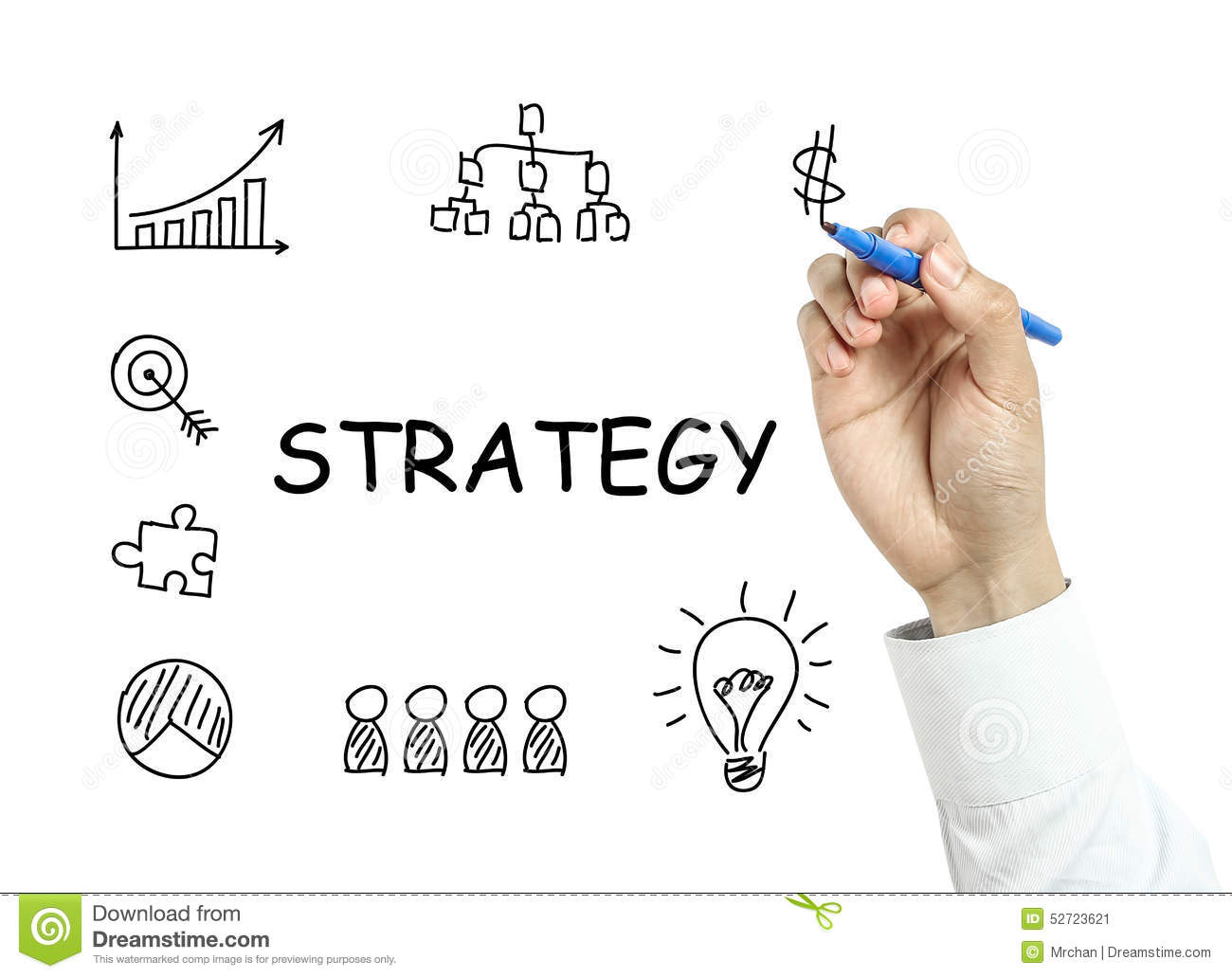 Businessman Drawing Strategy Concept Stock Photo Image