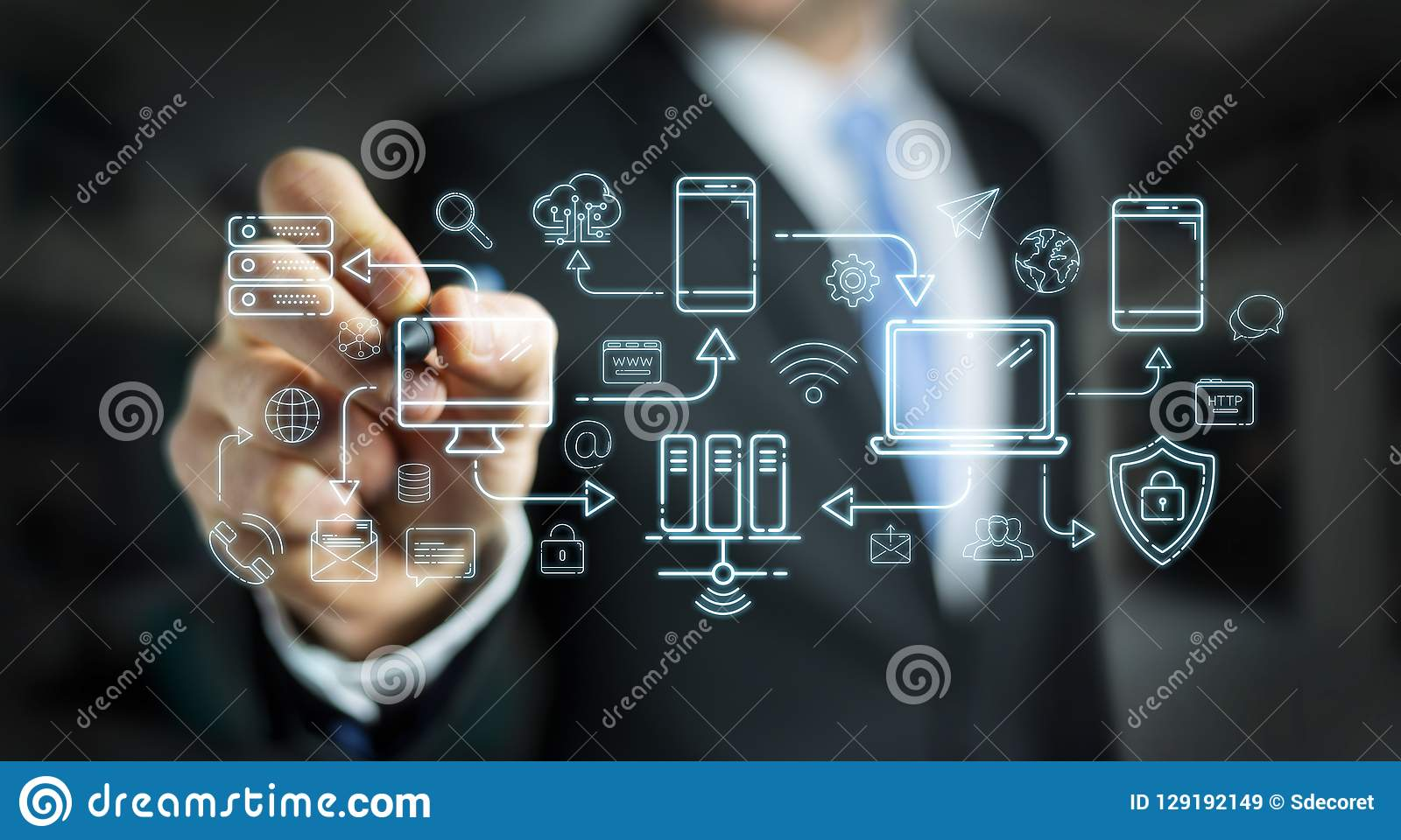 Businessman drawing tech devices and icons thin line interface