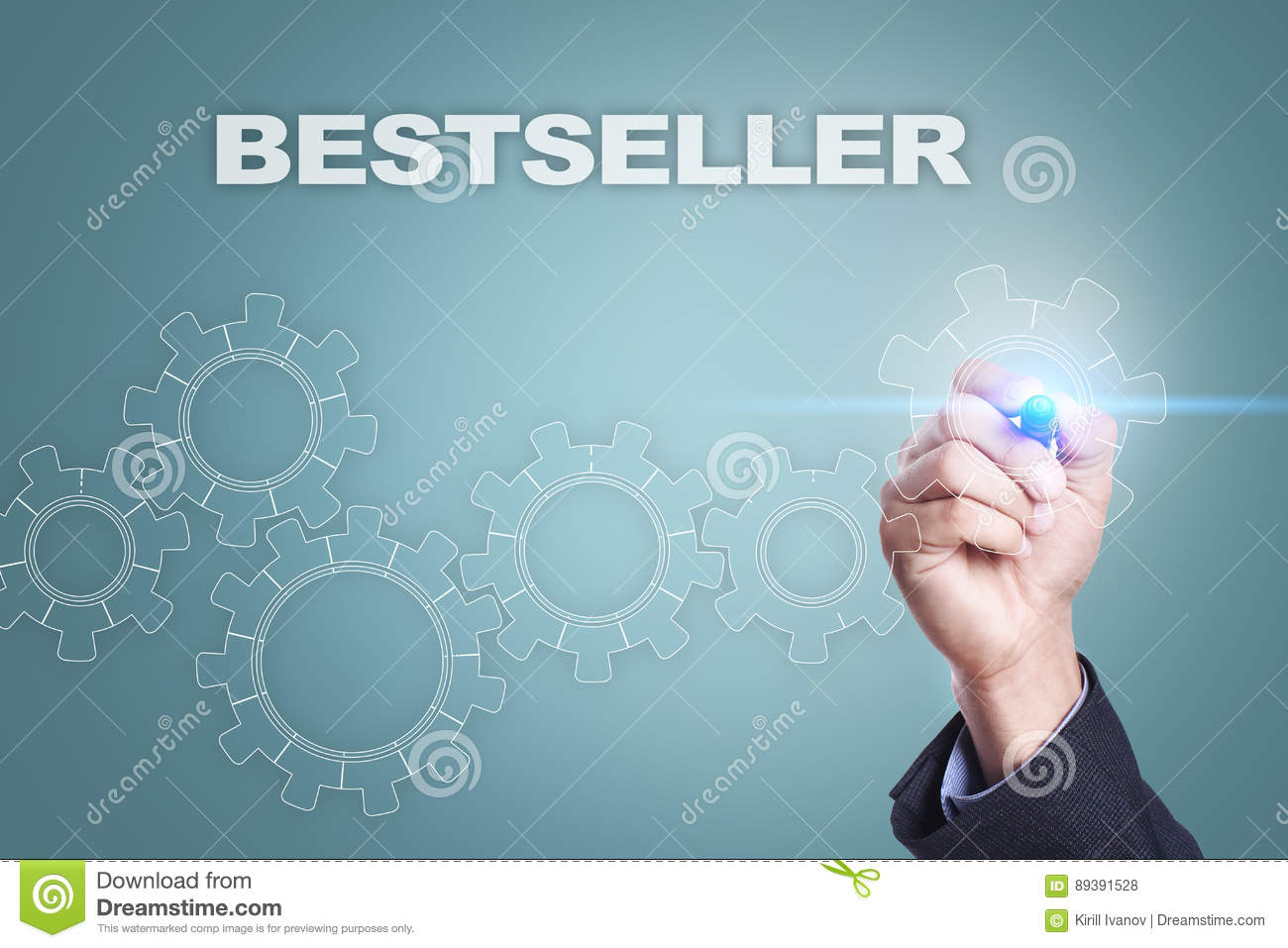Businessman drawing on virtual screen. bestseller concept