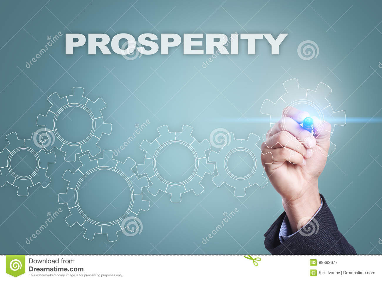 Businessman drawing on virtual screen. prosperity concept