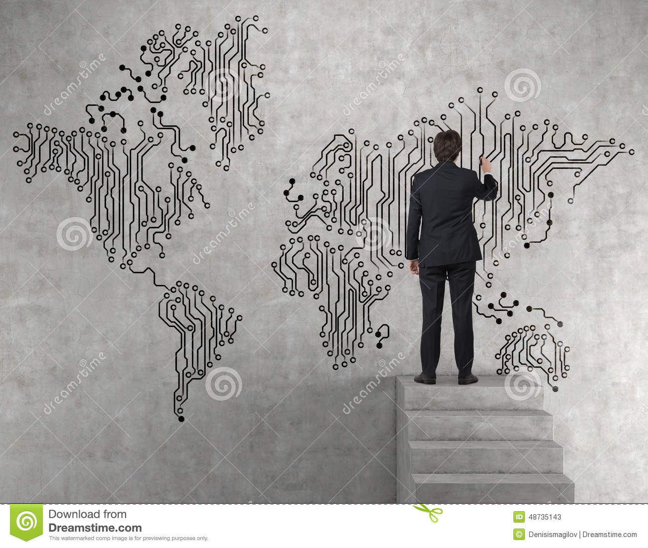 Businessman drawing web world map stock image image of summit businessman drawing web world map on wall gumiabroncs Gallery