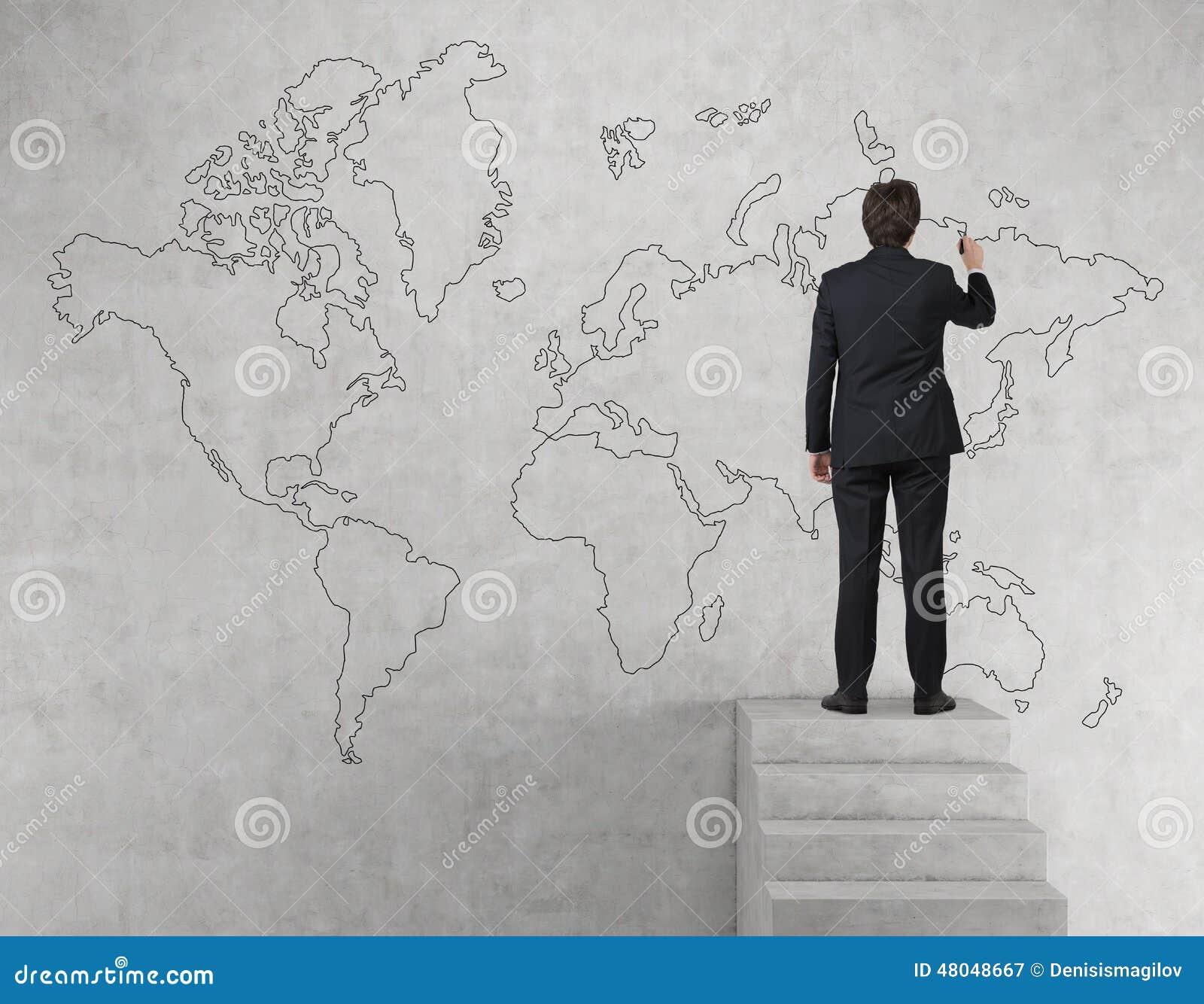 Businessman drawing world map stock image image of creativity businessman drawing world map stock image image of creativity research 48048667 gumiabroncs Choice Image
