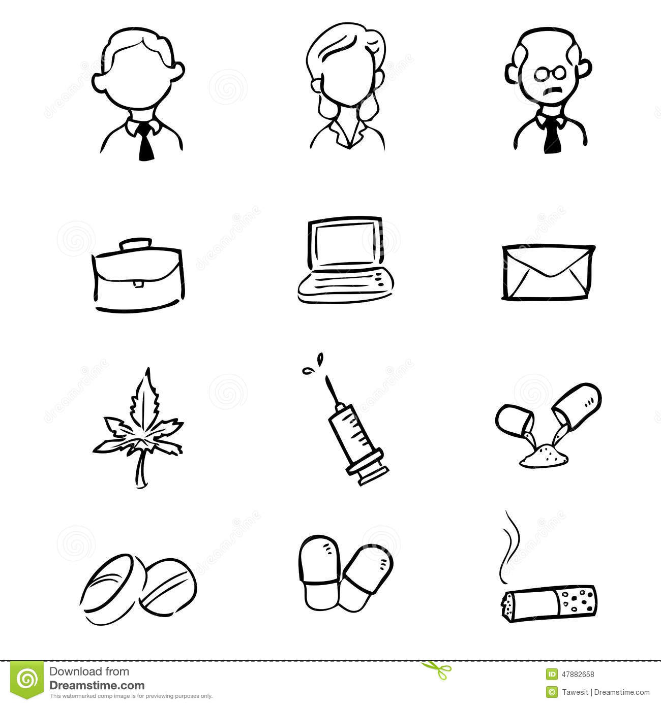 White Facing Weed Businessman Drugs Icons Set Stock Vector Image 47882658