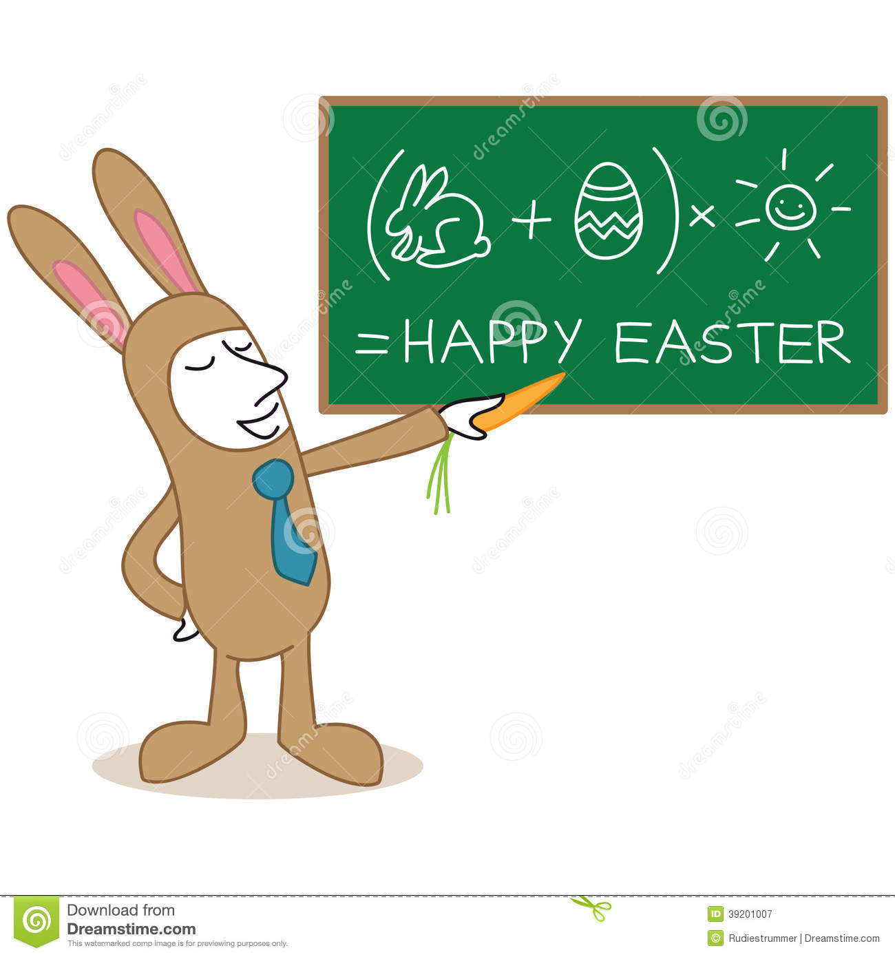 Of a monochrome cartoon character businessman in easter bunny costume