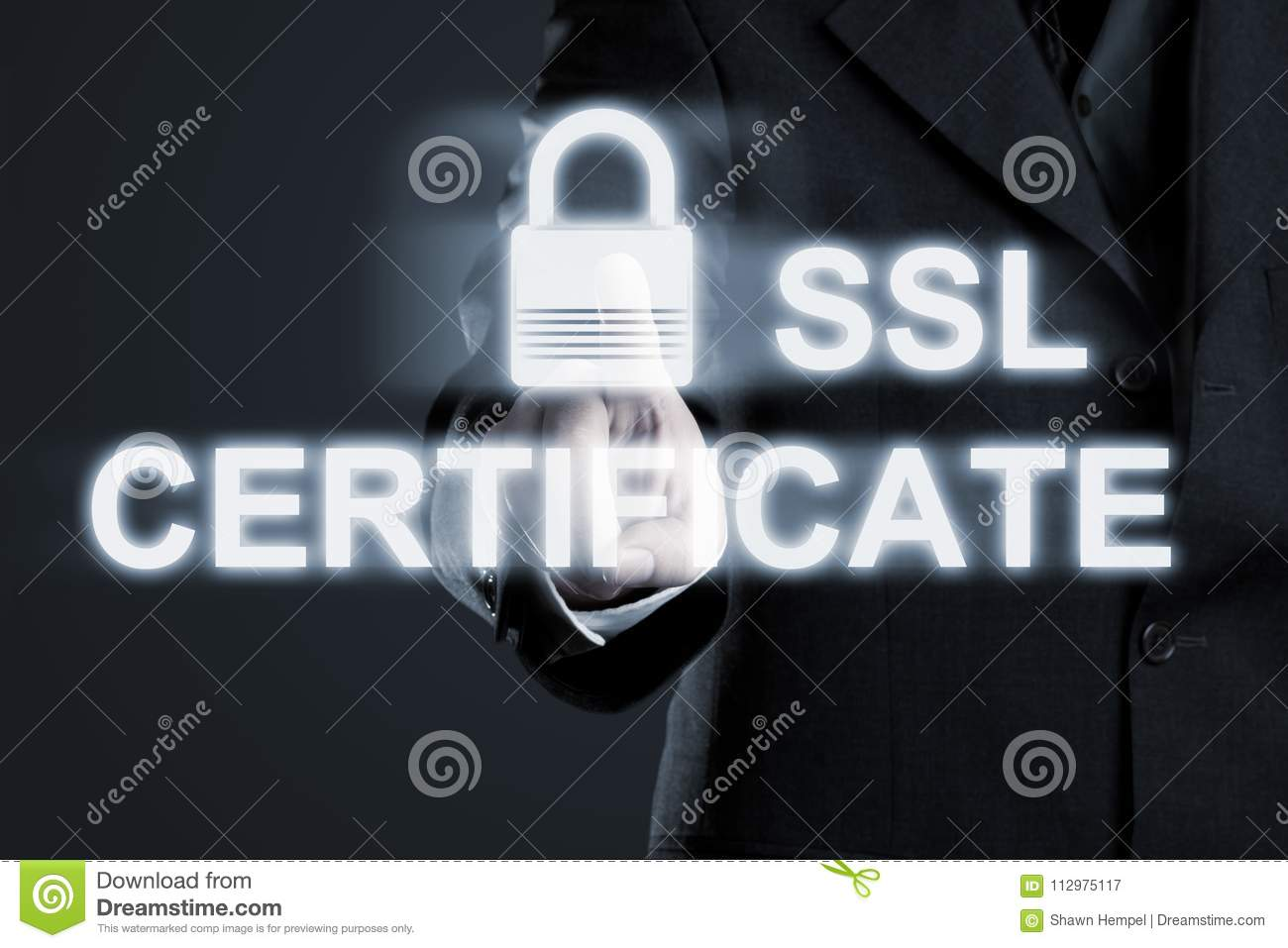 Businessman Enabling Ssl Certificate Secure Connection To Intern
