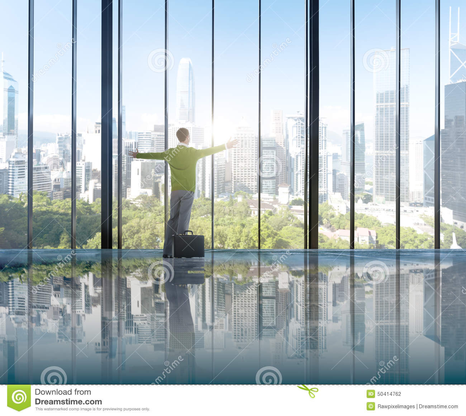 Businessman Environmental Conservation Concepts Success Solution Stock