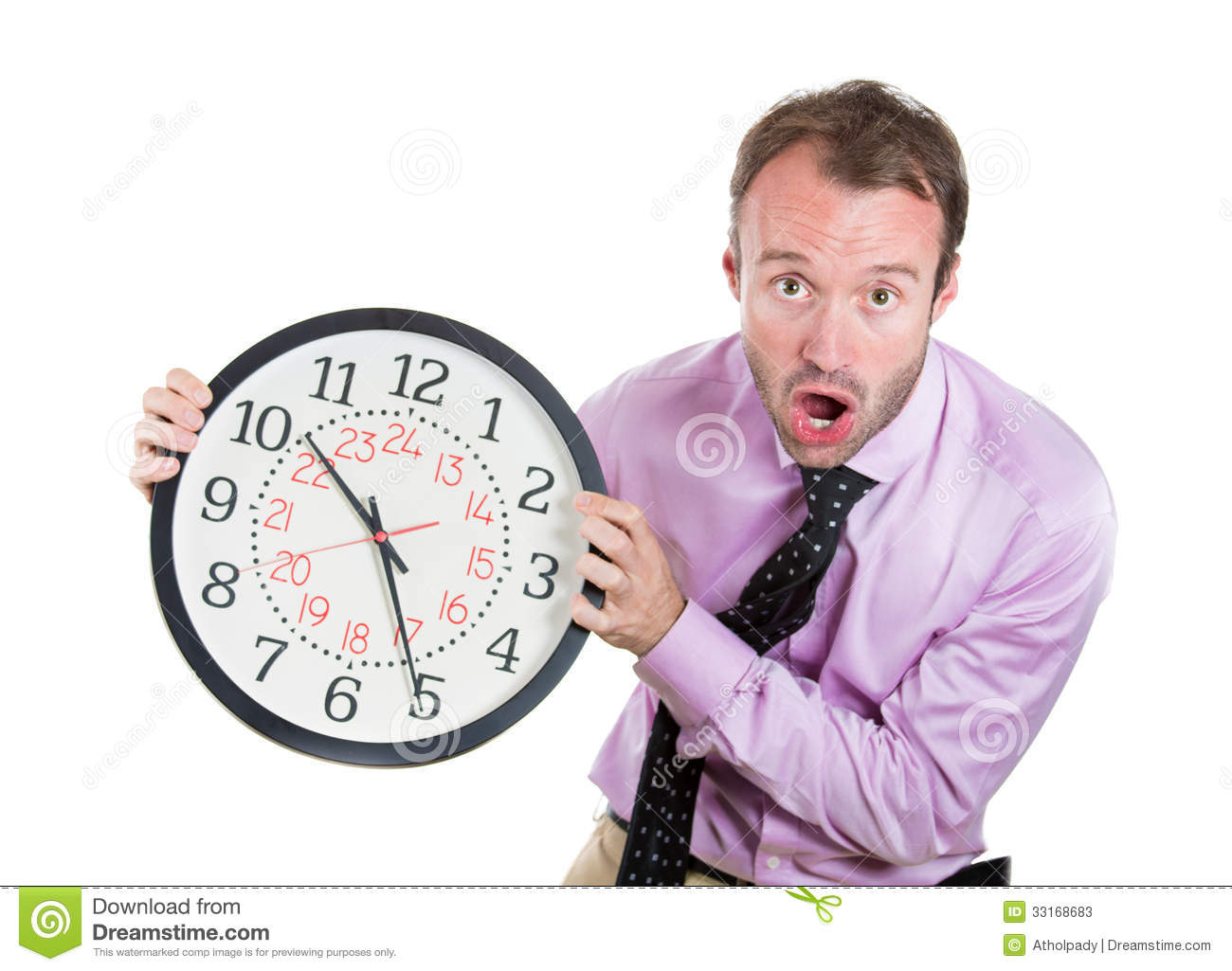 businessman executive leader holding a clock very