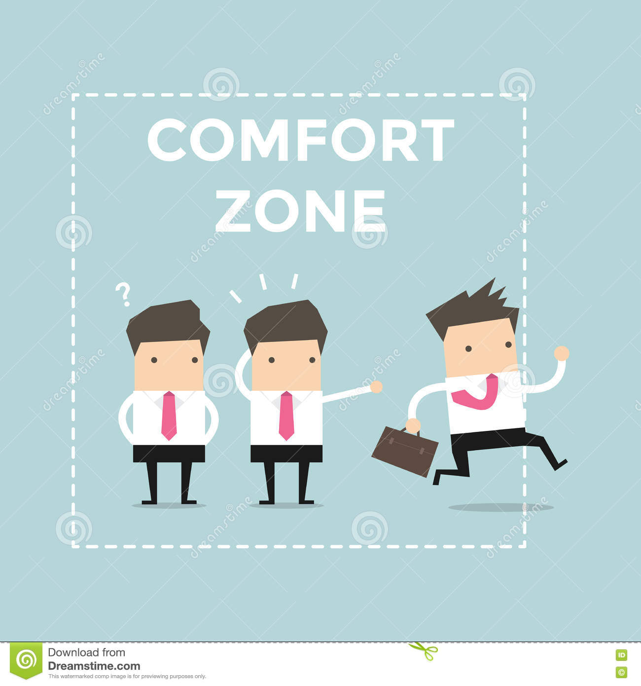 Businessman exit from comfort zone.