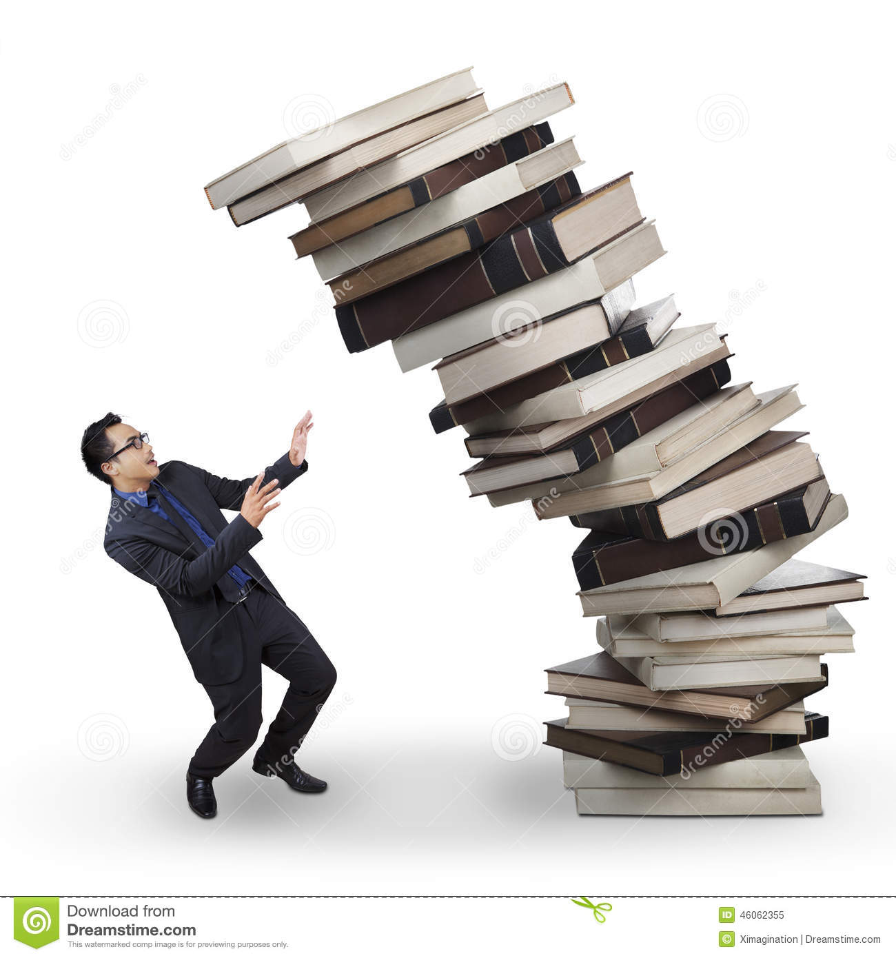 Image result for books falling on a person