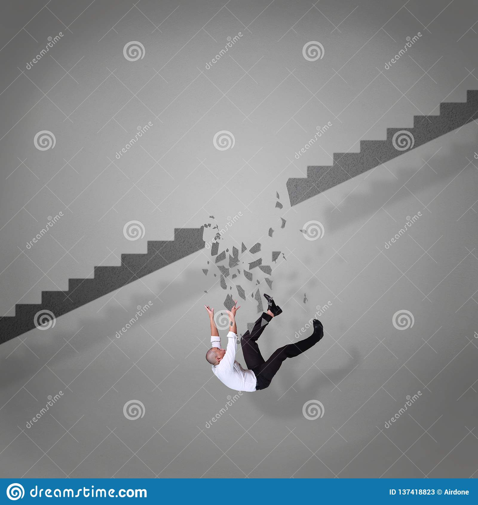 Businessman Falling Down From Broken Stairs