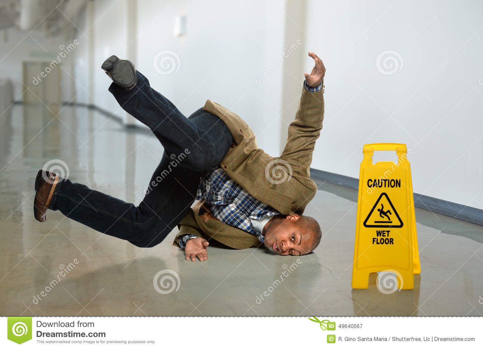 Businessman Falling On Wet Floor Stock Photo Image 49640567