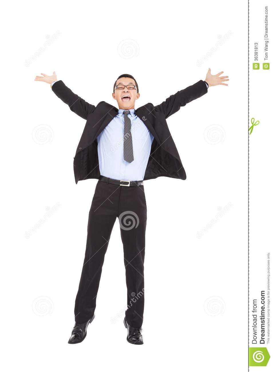 Happy Business Man Raise Hands From Joy Royalty Free Stock
