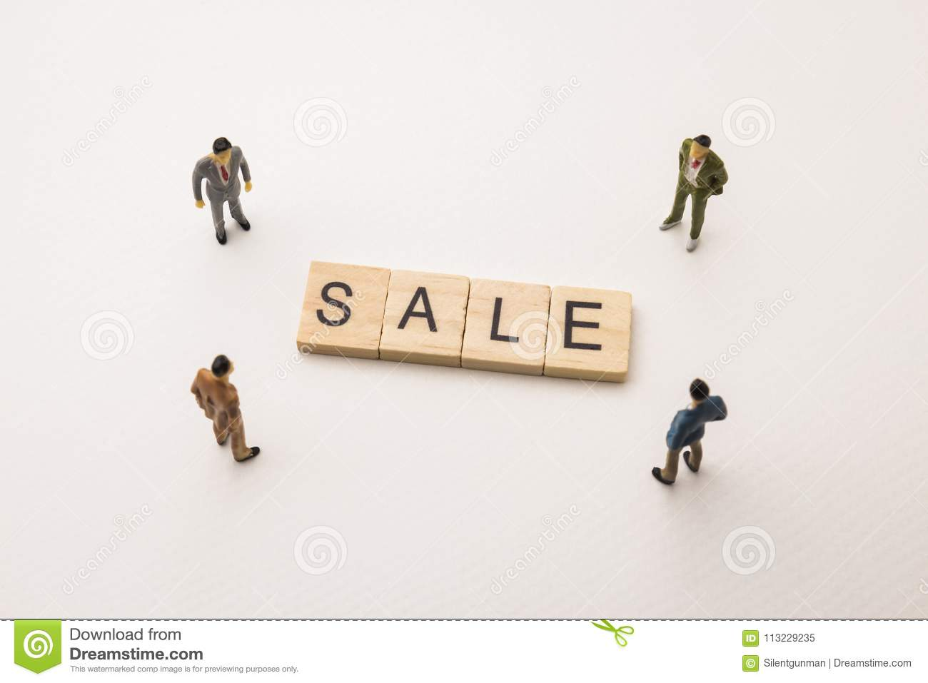 Businessman Figures Meeting On Sale Conceptual Stock Image - Image