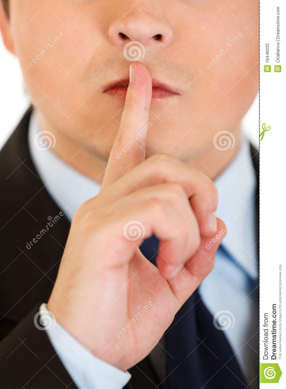 More similar stock images of ` Businessman with finger at mouth. Shh ...