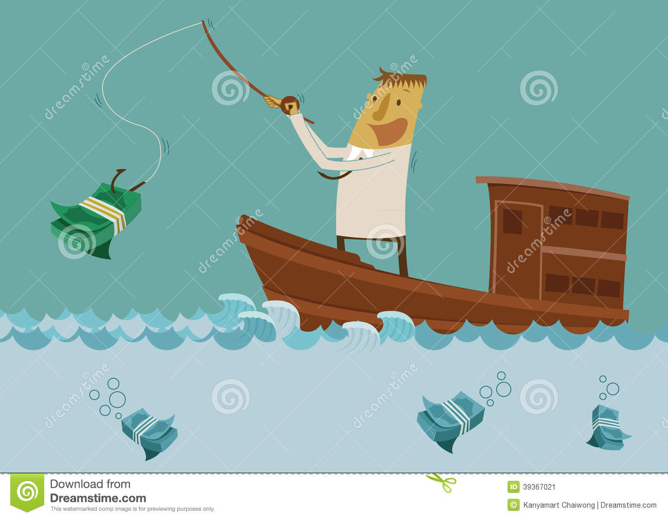 Businessman fishing for money stock vector image 39367021 for Fish for cash