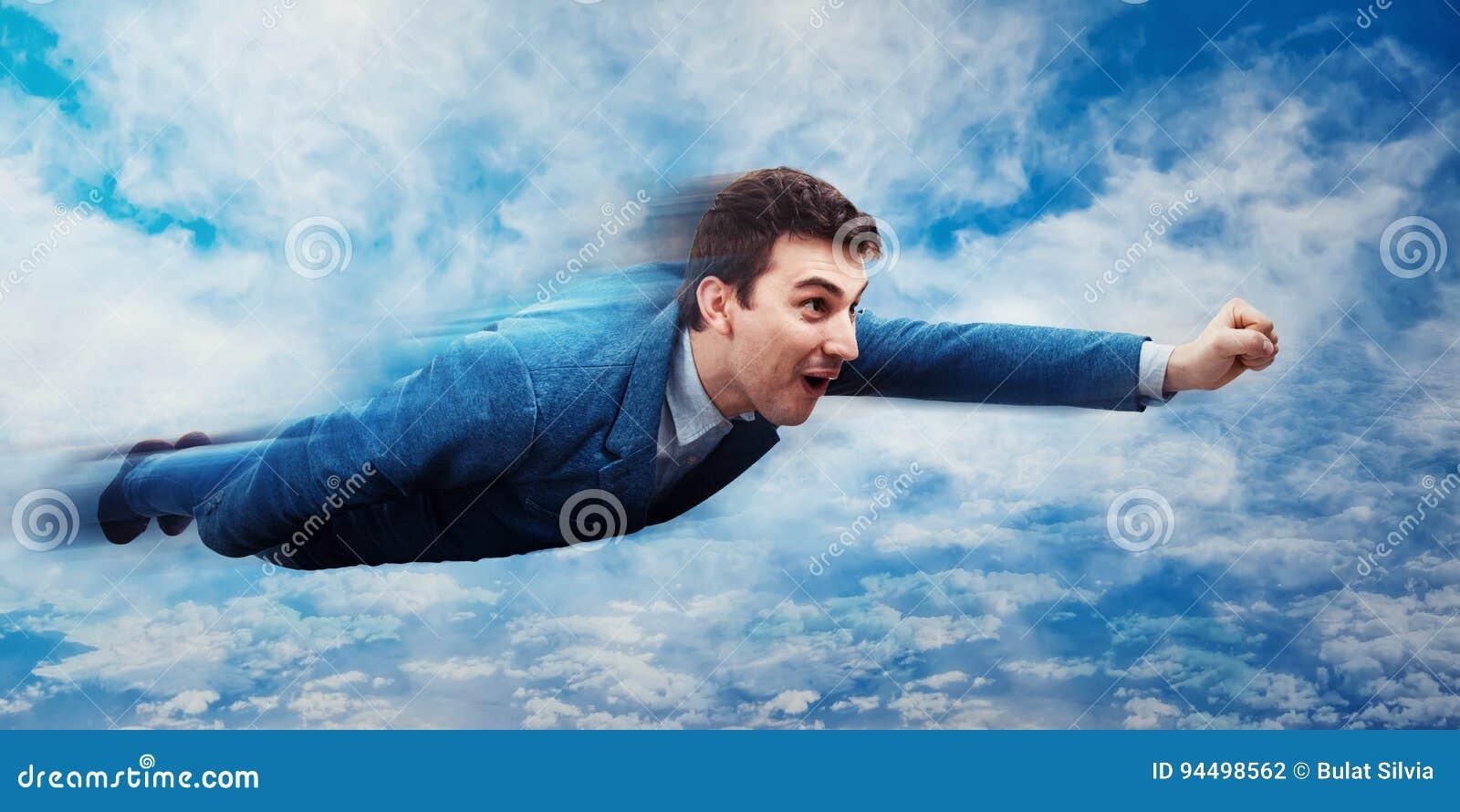 Businessman flying like a superhero