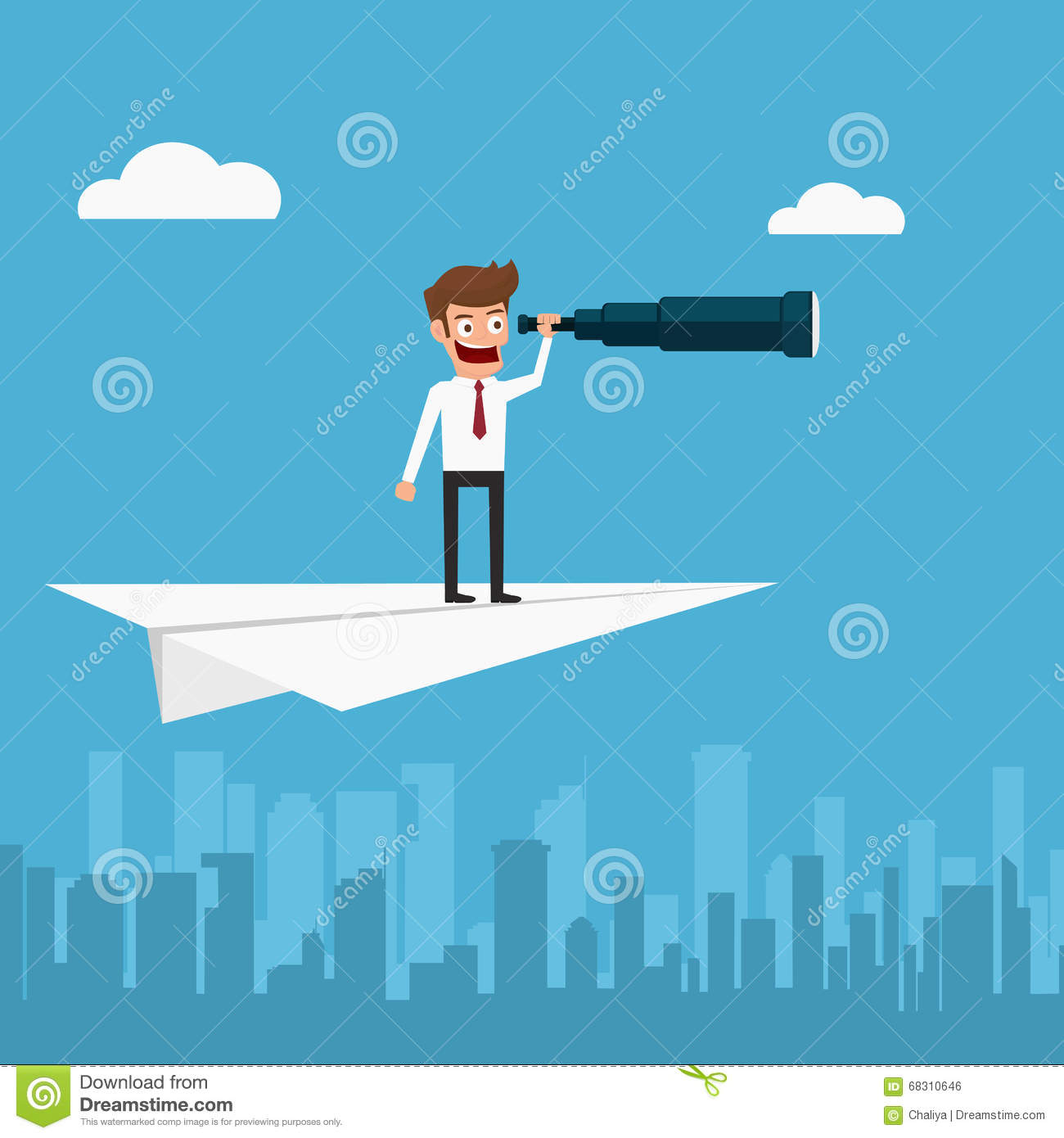 businessman flying on paper plane using telescope looking paper airplane icon vector Bomber Vector