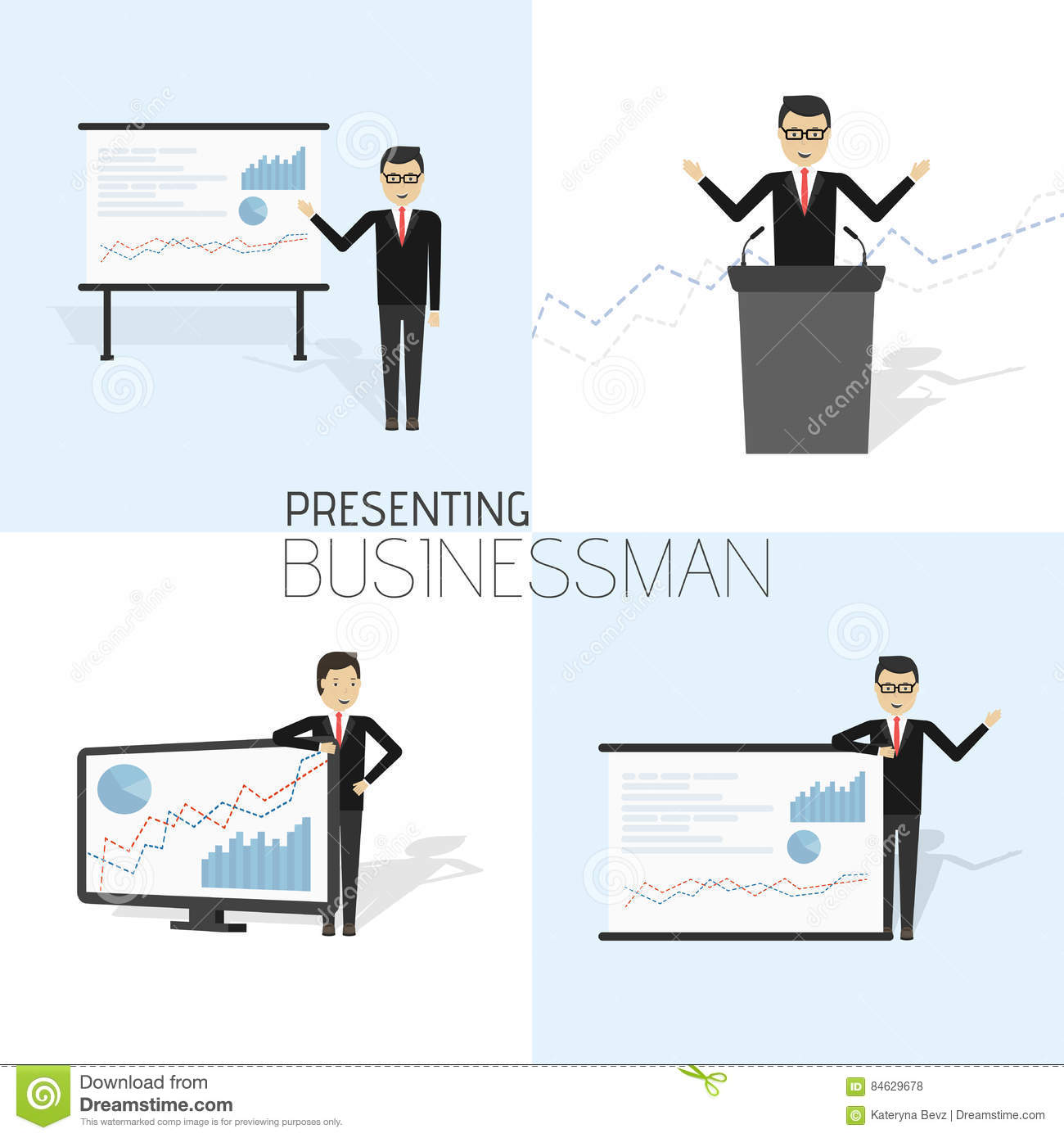 afd4813ea564 Businessman in formal suit is giving a presentation and showing graphs.