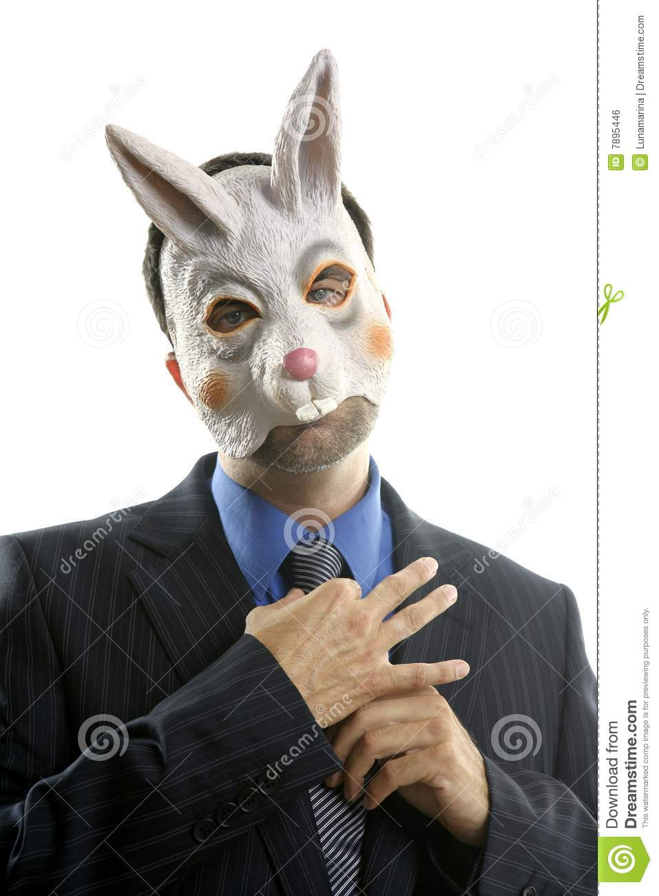 Businessman With Funny Rabbit Mask Royalty Free Stock Image ...