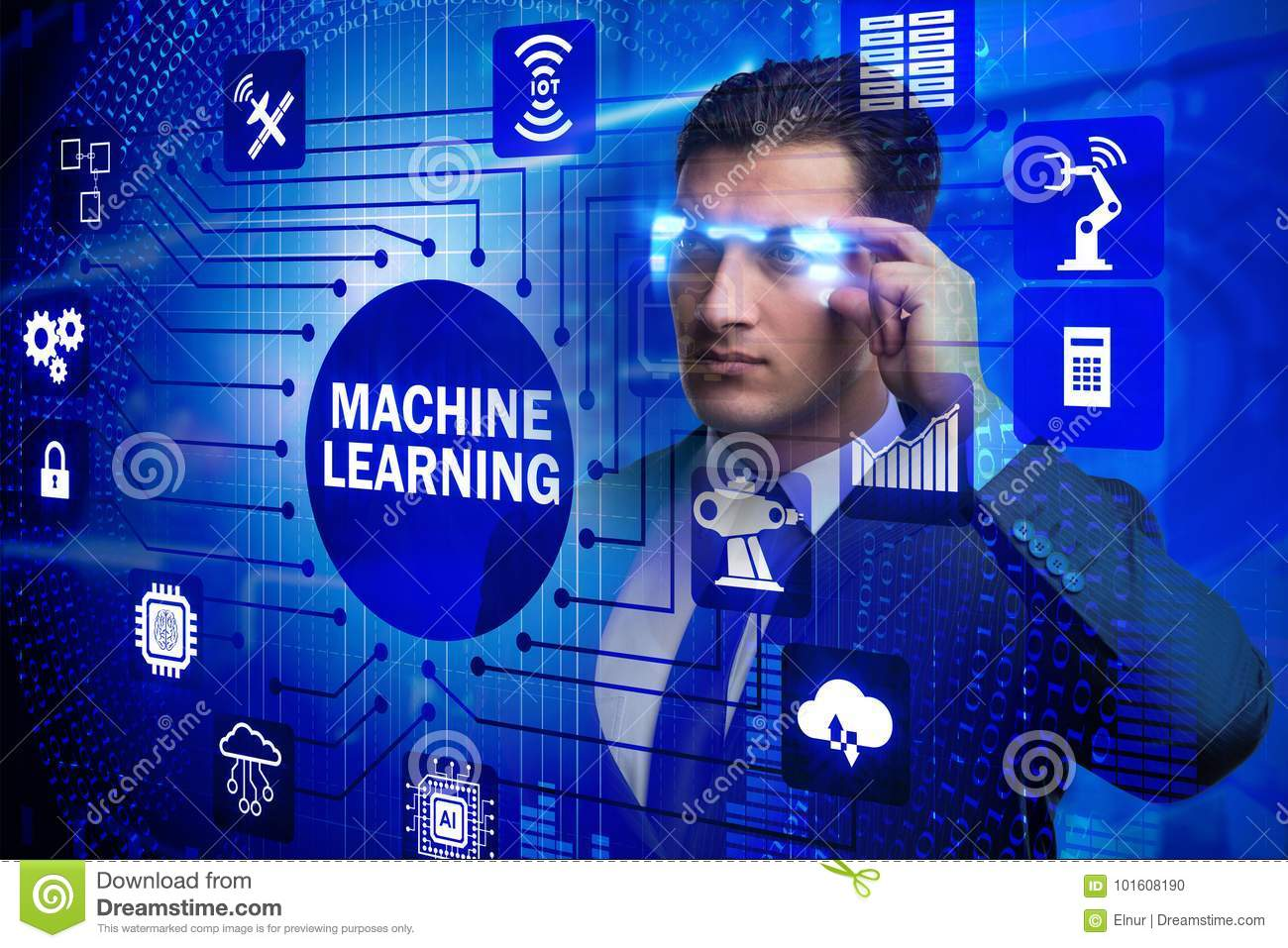 The businessman with futuristic glasses in machine learning concept