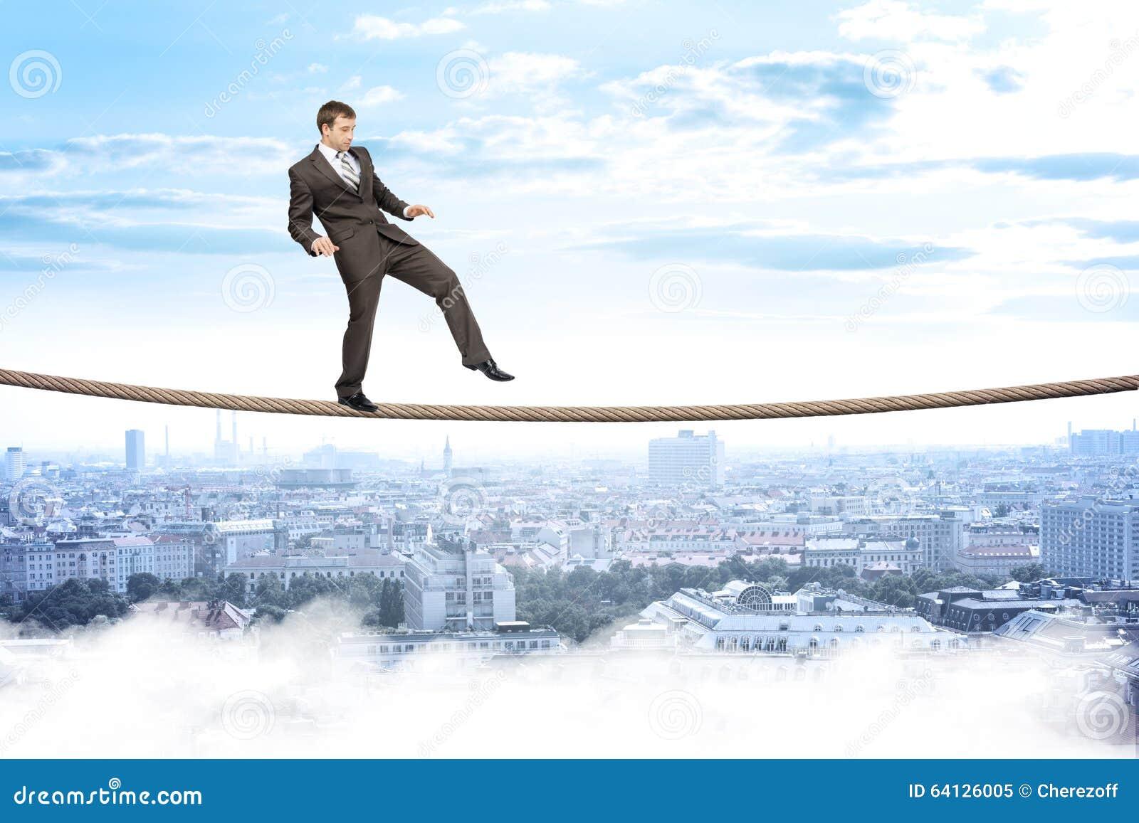 Businessman Gently Walking On Rope Stock Photo Image