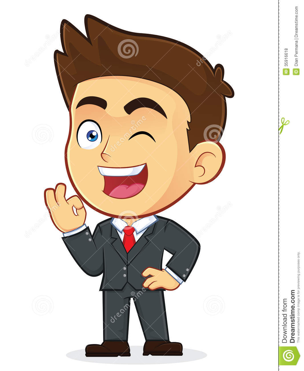 Cartoon Characters Guys : Businessman gesturing ok and winking stock vector