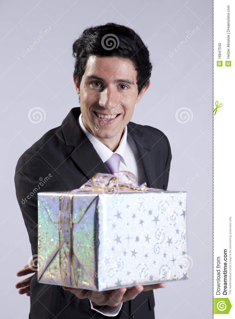 Businessman with a gift package