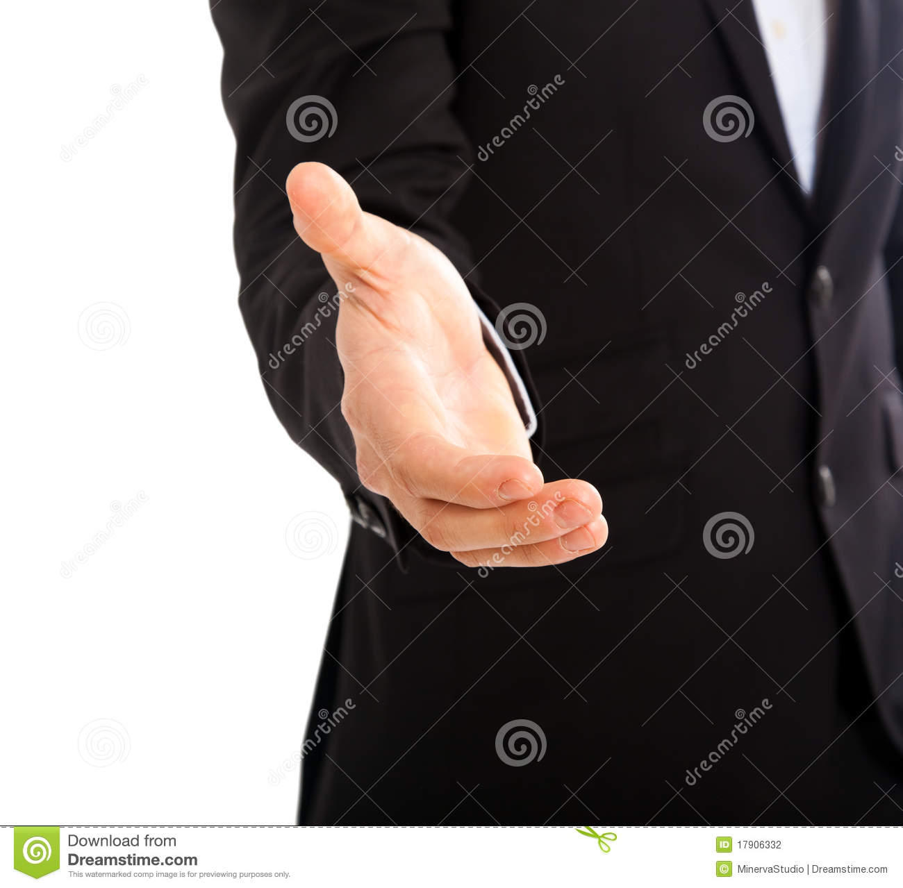 Businessman giving hand white background