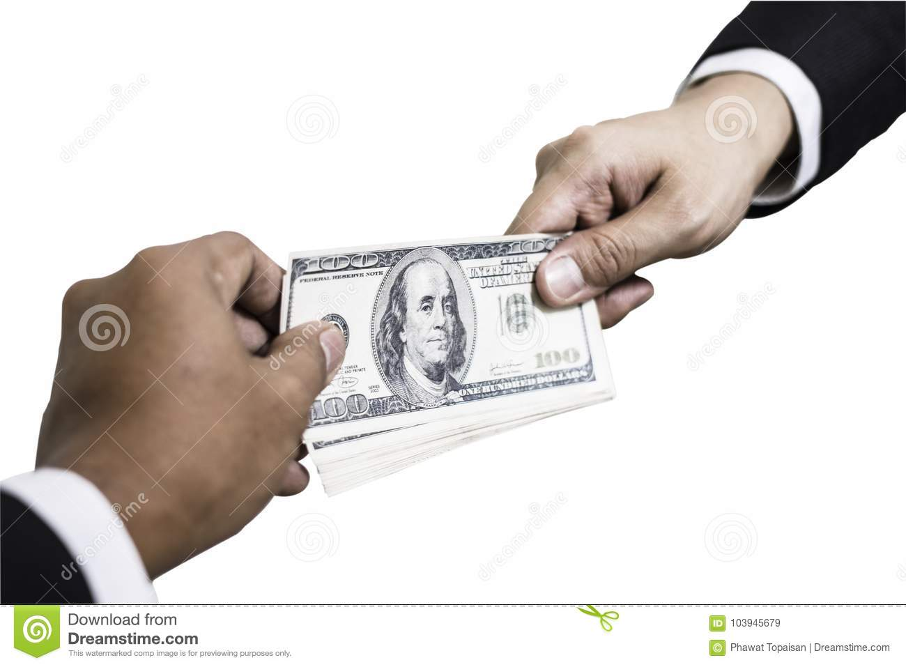 Download Hand Receiving Money Dollar From Businessman Hand. Isolated On White Background Stock Image - Image of concept, black: 103945679