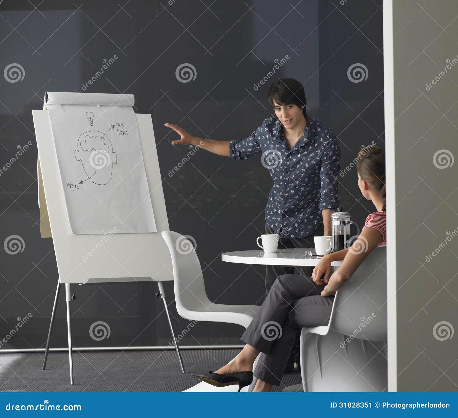 Businessman Giving Presentation On Flipchart