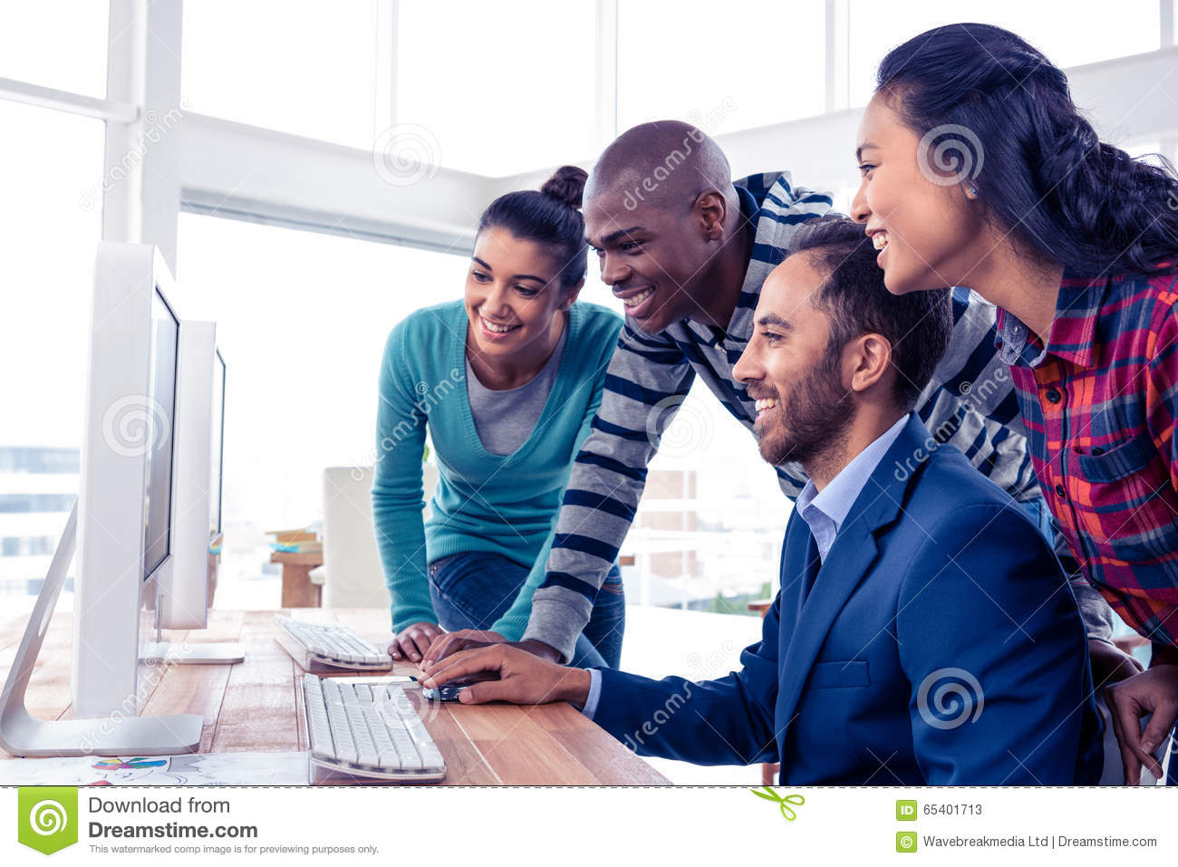 Businessman giving training to team