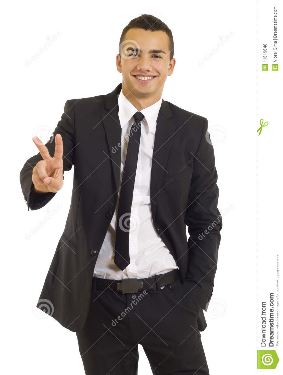 Businessman giving the victory sign