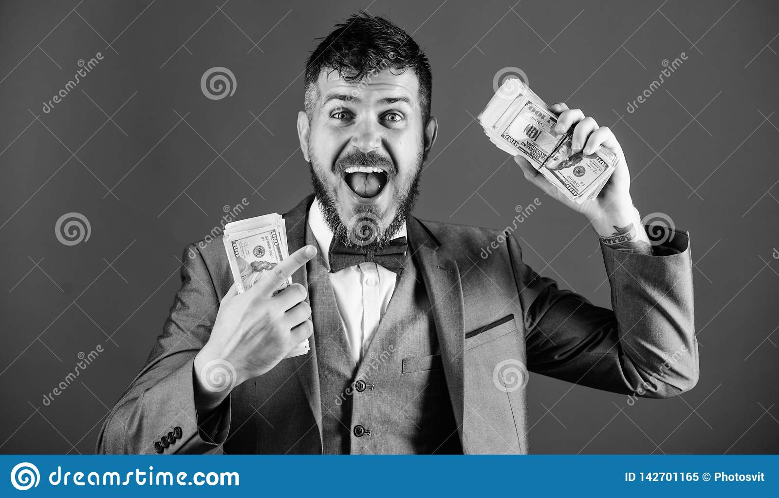 Businessman got cash money. Get cash easy and quickly. Cash transaction business. Man happy winner rich hold pile of