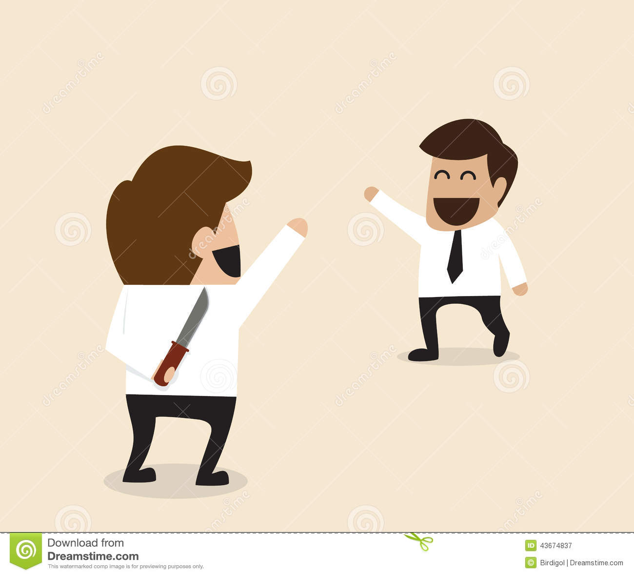 Businessman Greeting His Friend With Knife Behind The Back