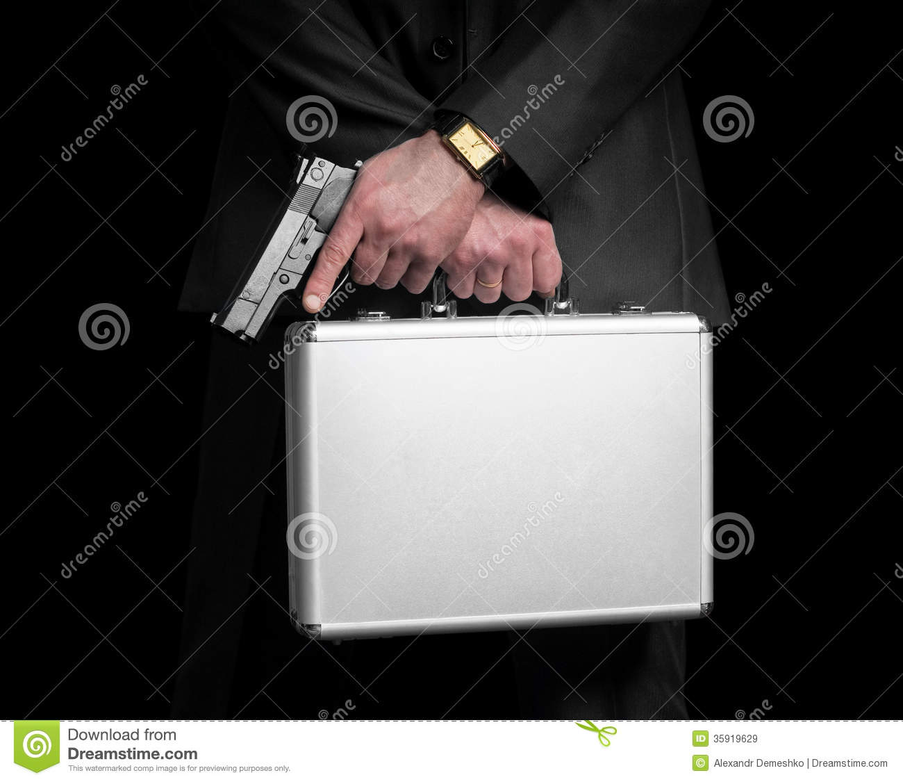 Businessman With Gun And Silver Metal Briefcase. Royalty ...
