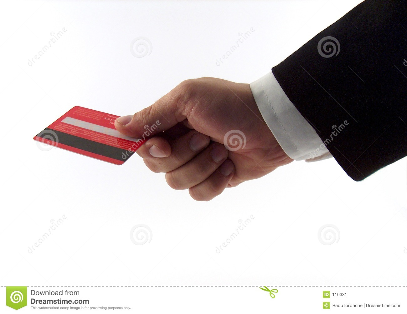 Businessman hand with card