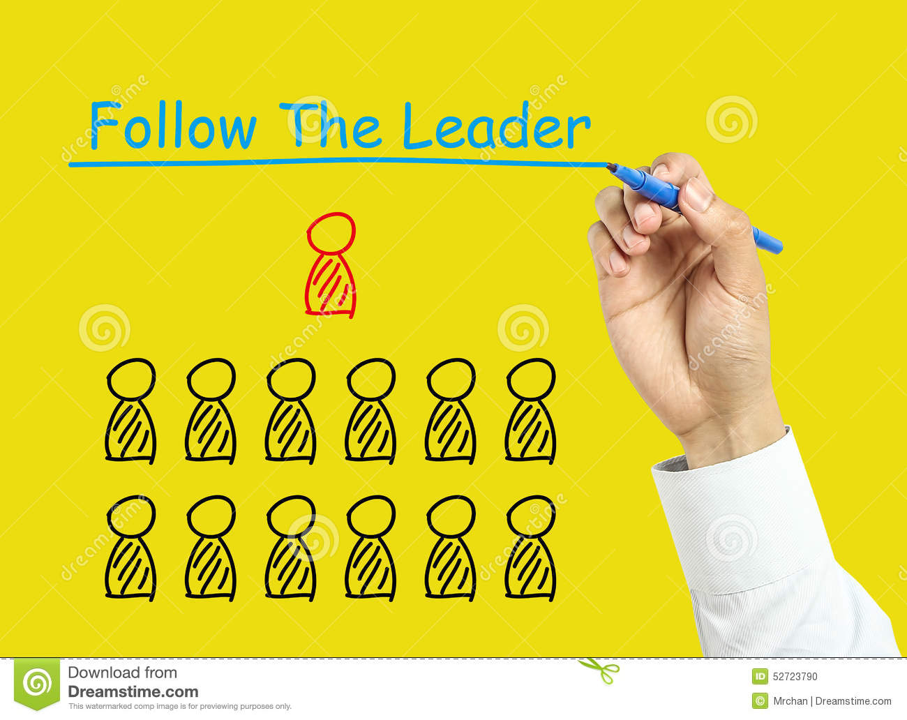 Leadership Concept. People Follow The Leader. Cartoon ...