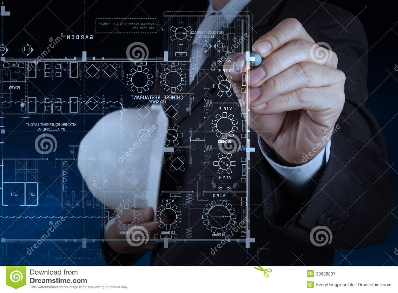 Businessman hand drawing interior construction site royalty free stock photography