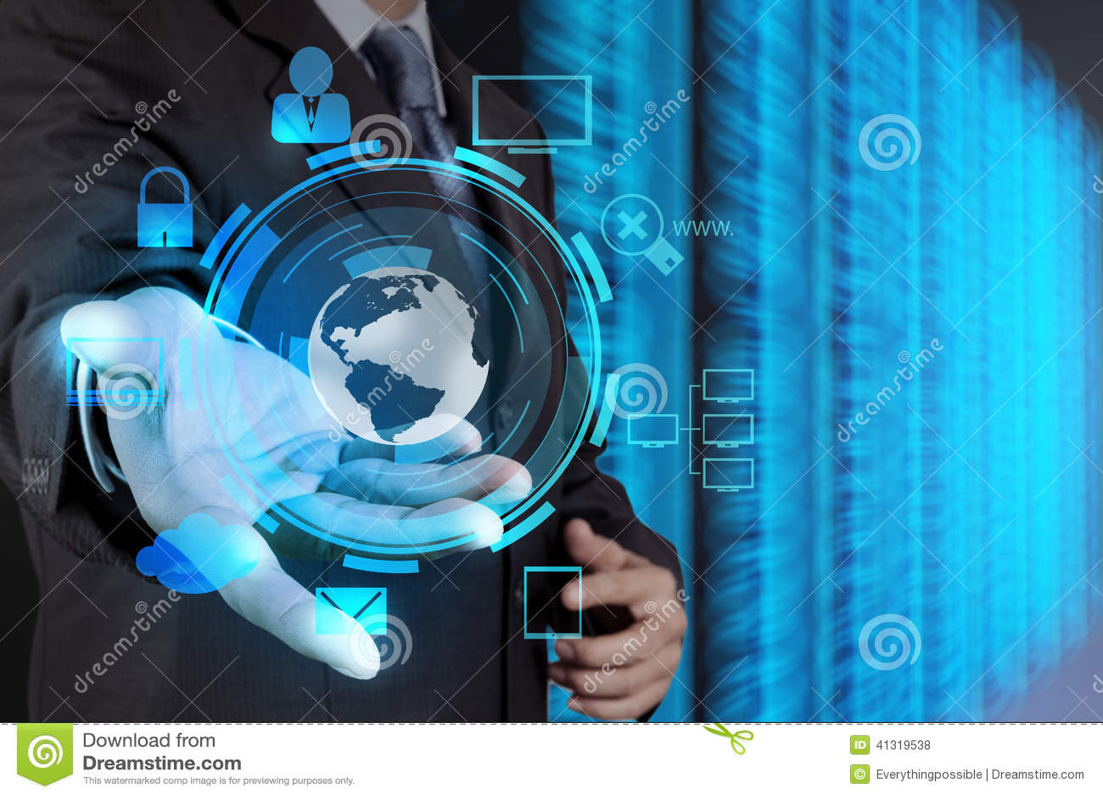 Technology Management Image: Businessman Hand Holding Cloud Network Icon Stock Photo